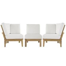 Marina Three PCS Outdoor Patio Teak Sofa Set, White, Fabric, Wood