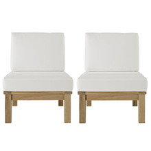 Marina Two PCS Outdoor Patio Teak Sofa Set, White, Wood, Fabric