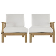 Marina Two PCS Outdoor Patio Teak Sofa Set, Fabric, Wood, White
