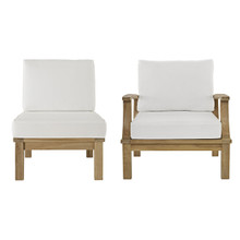 Marina Two PCS Outdoor Patio Teak Sofa Set, Wood, Fabric, White