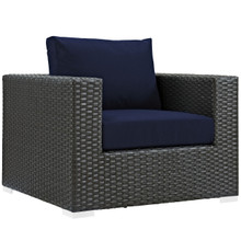 Sojourn Outdoor Patio Armchair, Navy, Fabric, Synthetic Rattan