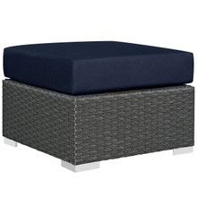 Sojourn Outdoor Patio Ottoman, Navy, Fabric, Synthetic Rattan
