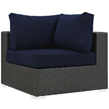 Sojourn Outdoor Patio Corner, Navy, Fabric, Synthetic Rattan