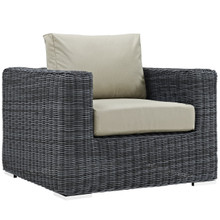 Summon Outdoor Patio Fabric Armchair, Beige, Fabric, Synthetic Rattan