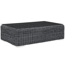 Summon Outdoor Patio Glass Top Coffee Table, Grey, Synthetic Rattan