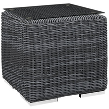 Summon Outdoor Patio Side Table, Grey, Fabric, Synthetic Rattan