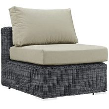 Summon Outdoor Patio Armless, Beige, Fabric, Synthetic Rattan