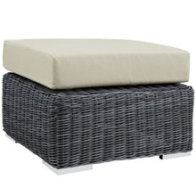 Summon Outdoor Patio Ottoman, Beige, Fabric, Synthetic Rattan