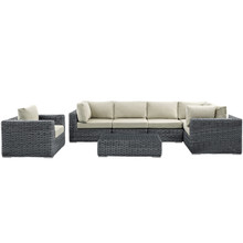 Summon Seven PCS Outdoor Patio Sectional Set, Beige, Synthetic Rattan, Fabric