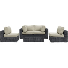 Summon Five PCS Outdoor Patio Sectional Set, Beige, Fabric, Synthetic Rattan