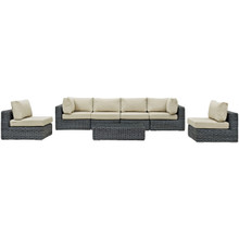 Summon Seven PCS Outdoor Patio Sectional Set, Beige, Fabric, Synthetic Rattan