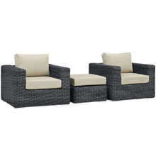 Summon Three PCS Outdoor Patio Sectional Set, Beige, Fabric, Synthetic Rattan