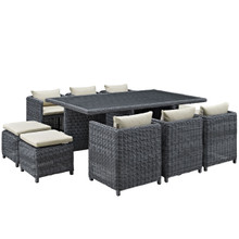 Summon Eleven PCS Outdoor Patio Dining Set, Beige, Fabric, Synthetic Rattan