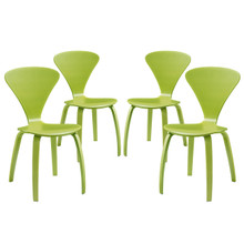 Vortex Dining Chairs (Set of Four), Green, Wood