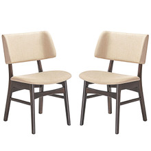 Vestige Dining Side Chair (Set of Two), Beige, Fabric, Wood