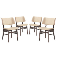 Vestige Dining Side Chair (Set of Four), Beige, Fabric, Wood