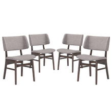Vestige Dining Side Chair (Set of Four), Grey, Fabric, Wood
