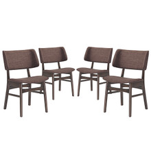 Vestige Dining Side Chair (Set of Four), Brown, Fabric, Wood