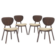 Murmur Dining Side Chair (Set of Four), Beige, Fabric, Wood