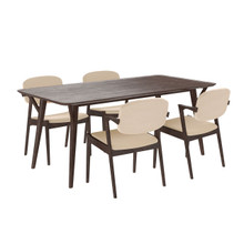 Mid-Century Dining Set (Set of Five), Beige, Fabric, Wood