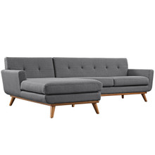 Engage Left-Facing Sectional Sofa, Grey, Fabric