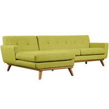 Engage Left-Facing Sectional Sofa, Green, Fabric