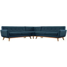 Engage L-Shaped Sectional Sofa, Navy, Fabric