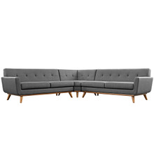 Engage L-Shaped Sectional Sofa, Grey, Fabric