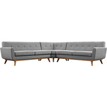 Engage L-Shaped Sectional Sofa, Fabric, Grey
