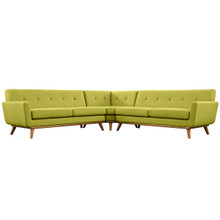 Engage L-Shaped Sectional Sofa, Green, Fabric