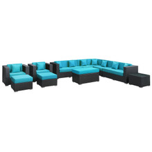 Cohesion Eleven PCS Outdoor Patio Sectional Set, Blue, Fabric, Synthetic Rattan