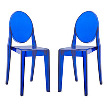 Casper Dining Chairs (Set of Two), Blue, Plastic