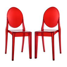 Casper Dining Chairs (Set of Two), Red, Plastic