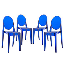 Casper Dining Chairs (Set of Four), Plastic, Blue