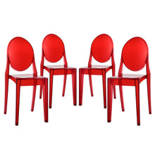 Casper Dining Chairs (Set of Four), Red, Plastic