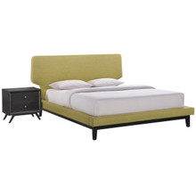 Bethany Two PCS Queen Size Bedroom Set, Green, Fabric, Wood