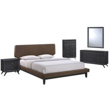 Bethany Five PCS Queen Size Bedroom Set, Brown, Fabric, Wood 5335
