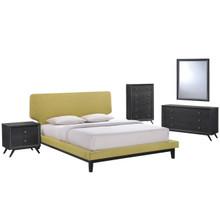 Bethany Five PCS Queen Size Bedroom Set, Green, Fabric, Wood 5335