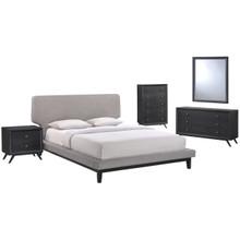 Bethany Five PCS Queen Size Bedroom Set, Grey, Fabric, Wood 5335