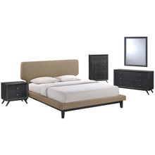 Bethany Five PCS Queen Size Bedroom Set, Brown, Wood, Fabric 5335