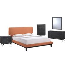 Bethany Five PCS Queen Size Bedroom Set, Orange, Fabric, Wood 5335
