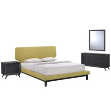 Bethany Four PCS Queen Size Bedroom Set, Green, Fabric, Wood