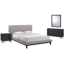 Bethany Four PCS Queen Size Bedroom Set, Grey, Fabric, Wood