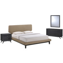 Bethany Four PCS Queen Size Bedroom Set, Brown, Wood, Fabric