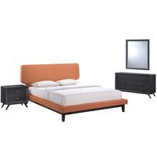 Bethany Four PCS Queen Size Bedroom Set, Orange, Fabric, Wood