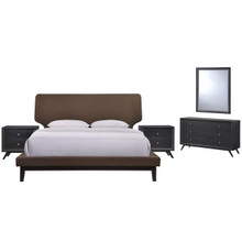 Bethany Five PCS Queen Size Bedroom Set, Brown, Fabric, Wood