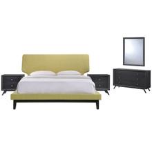 Bethany Five PCS Queen Size Bedroom Set, Green, Fabric, Wood