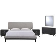 Bethany Five PCS Queen Size Bedroom Set, Grey, Fabric, Wood