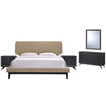 Bethany Five PCS Queen Size Bedroom Set, Brown, Wood, Fabric