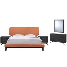 Bethany Five PCS Queen Size Bedroom Set, Orange, Fabric, Wood